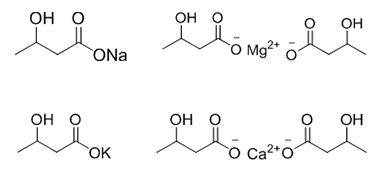 DL-3-羟基丁酸钠、钙、镁、钾